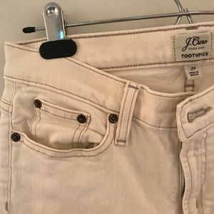 Jcrew toothpick jeans, off white